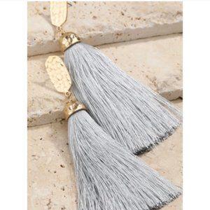 Hammered Tassel Dangle Earrings